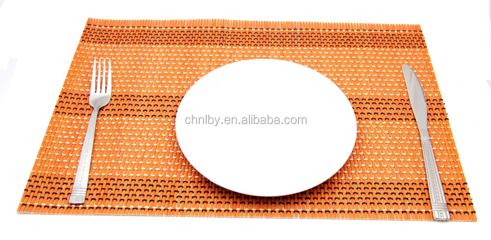 Eco-friendly rectangular rattan placemats, tile coaster and restaurant table mats
