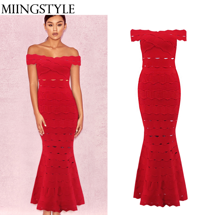 New design fashion ladies clothing red bandage off shoulder sexy women fishtail dress