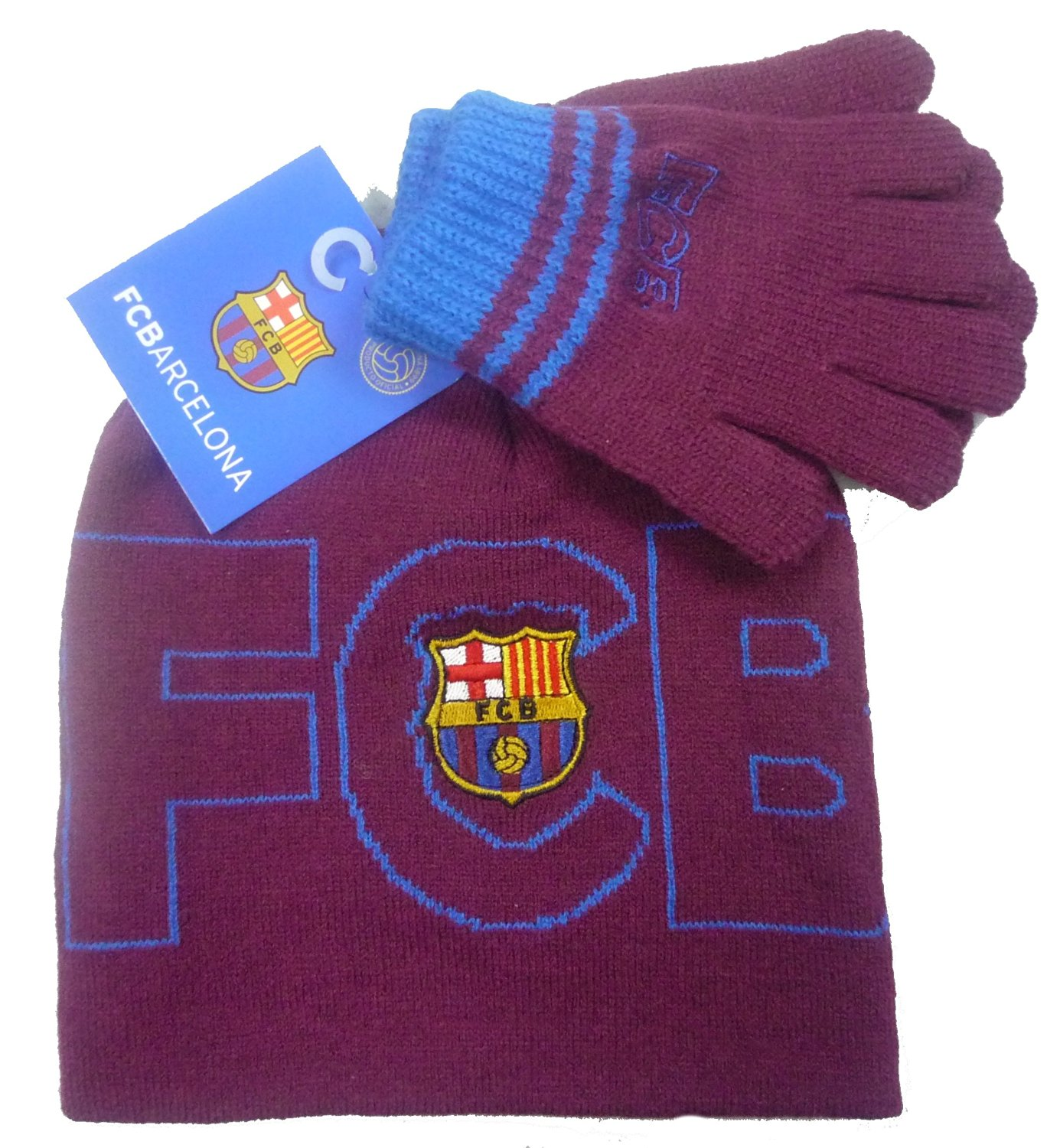 a3178e9d2f9 Get Quotations · Official Licensed FC Barcelona Childrens Maroon Beanie  Gloves set - Licensed FC Barcelona Merchandise