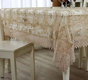 """The new brown tablecloth lace embroidery table cloths Tea Table Cloth Cover pastoral cloth tablecloths,living room coffee table cloth dining Restaurant tablecloths for decoration XX-Small(15""""*15"""")"""