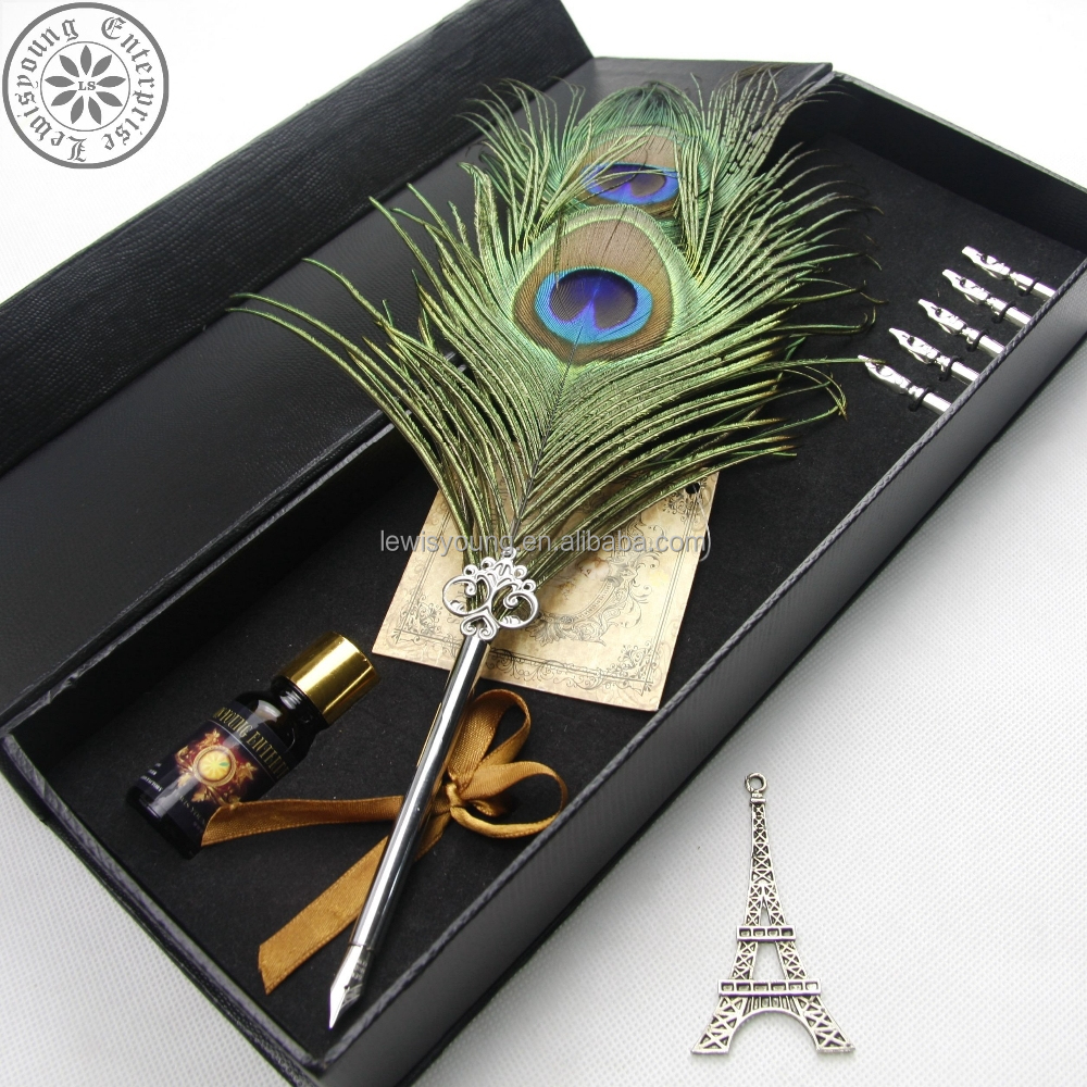 Gift Fether quill pen/Promotion peacock feather pen