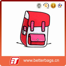 2D Drawing Cartoon School Bag 3D School Bag kids Backpack