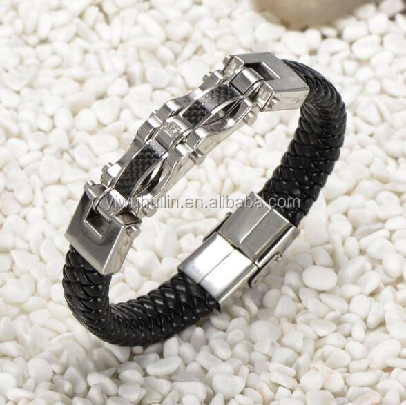 JZY040 Huilin Jewelry Explosion models magnetic Wristband black Punk Biker Stainless Steel Men Bracelets Bangles