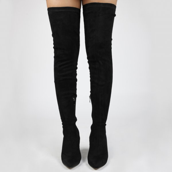 fd44df10b082 Wooden Heel Pointed Toe Over the knee Boots in Faux Suede Women shoes High  Heels Ladies