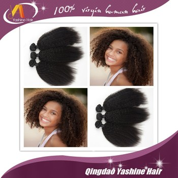 Afro Kinky Human Hair Weave Straight Yaki Pony Hair Braiding Hair ...