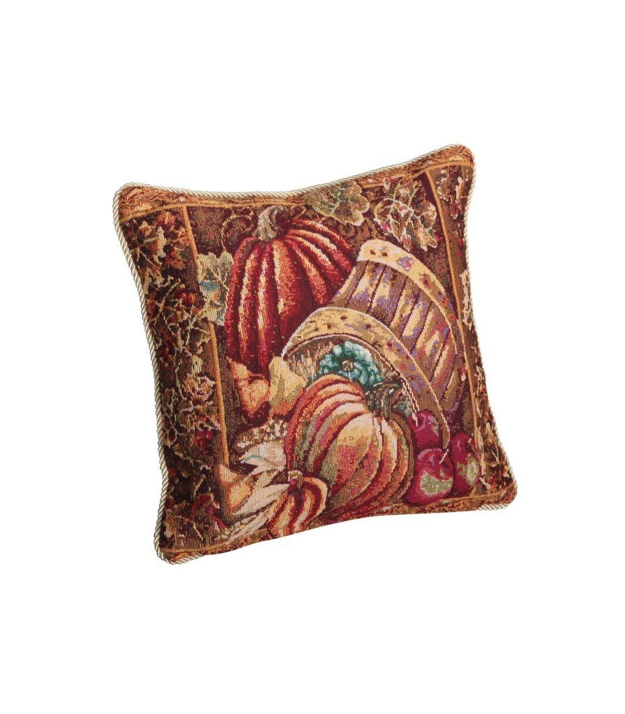 """Fall Harvest Collection - Tapestry Bushel Basket Pumpkins Apples And Grapes Design- 18"""" X 18"""" Cushion Cover"""
