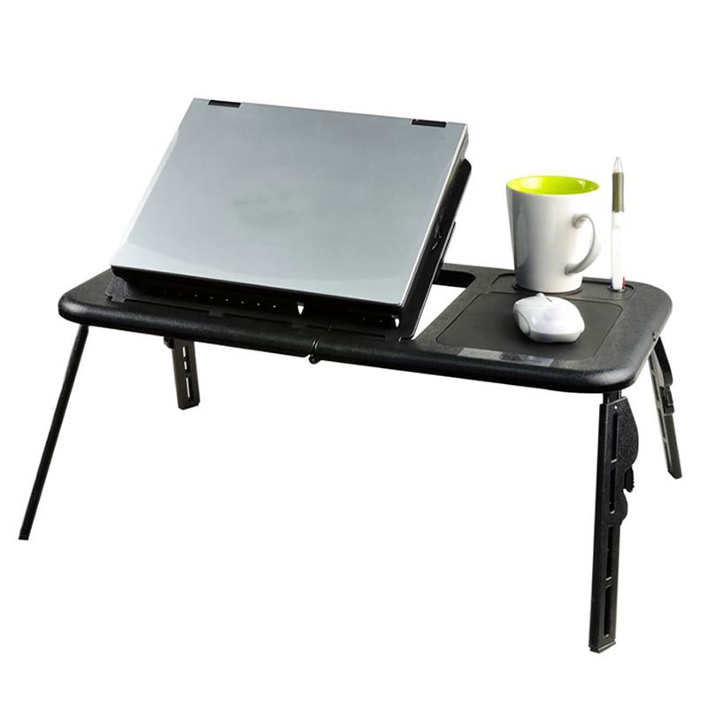 Black Mini adjustable <strong>laptop</strong> table with <strong>cooling</strong> <strong>fans</strong> <strong>for</strong> bed or sofa used