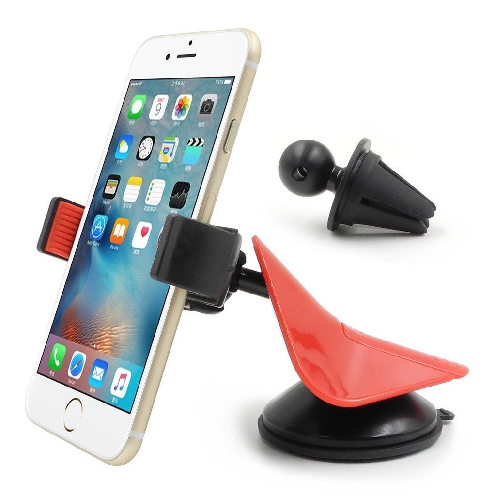 Car Mount, INCART™ 3 in 1 Universal 360° Dashboard /Air Vent/ Windshield Car Phone Mount Holder Cradle for iPhone, Samsung, Nexus, Motorola, Sony, HTC, Droid, LG & Other Smartphones (Red)