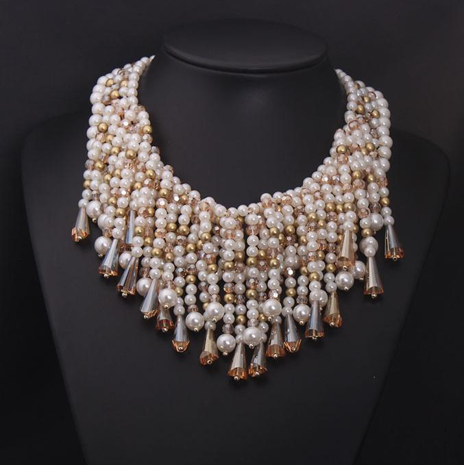 Top Fashion Jewelry Design Statement Pearl Tassel Necklace Top