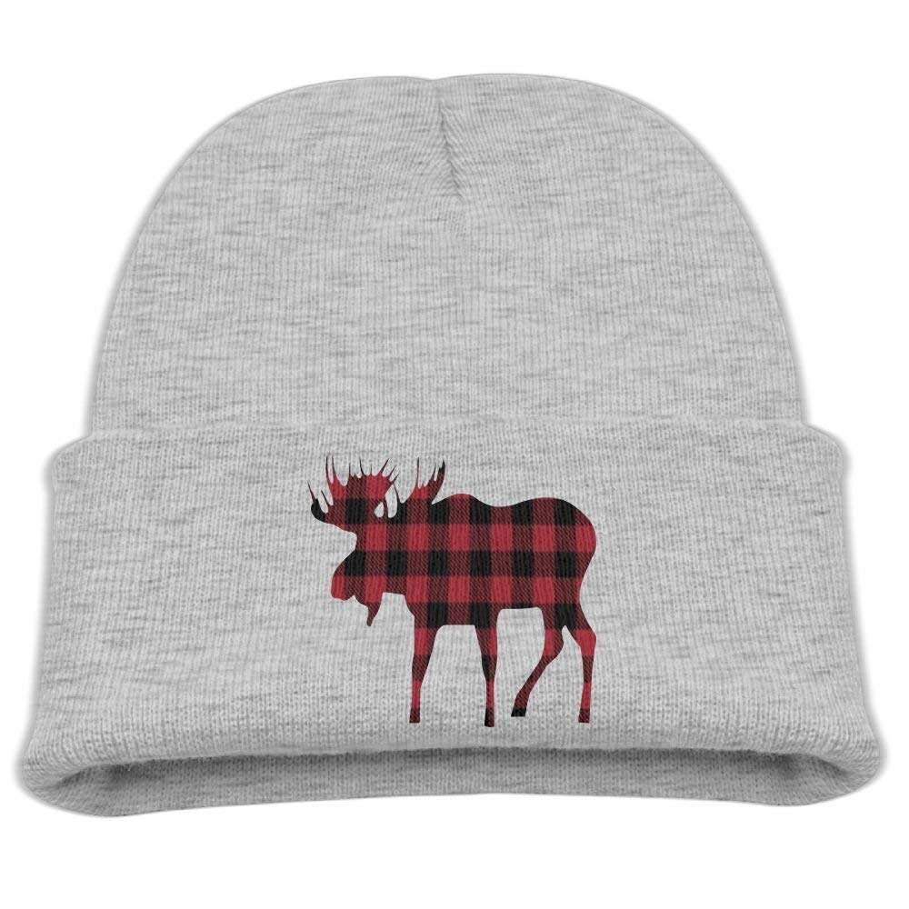 Get Quotations · ZWZ Buffalo Plaid Moose Lumberjack Kid s Hats Winter Funny  Soft Knit Beanie Cap c7efe0ba6400