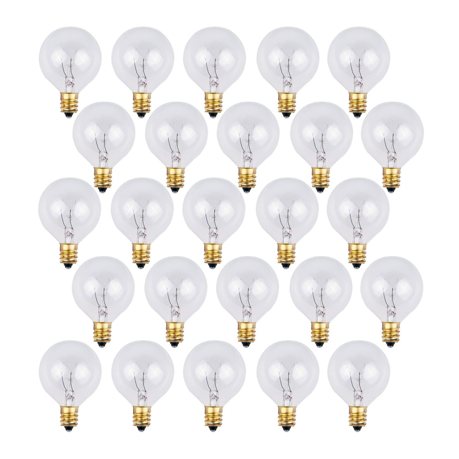 25 Pack - Clear G40 Globe Light Bulbs For Patio String Lights Fits E12 and C7 Base 5 Watt G40 Replacement Bulbs For Patio Lights