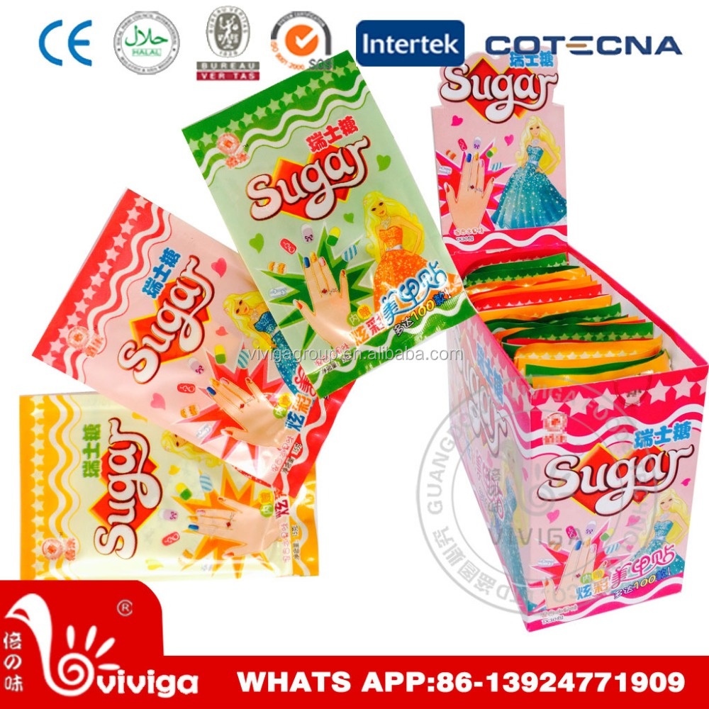 Mixed Fruit Flavors Swiss Soft Chewy Candy with Finger Nail Sticker
