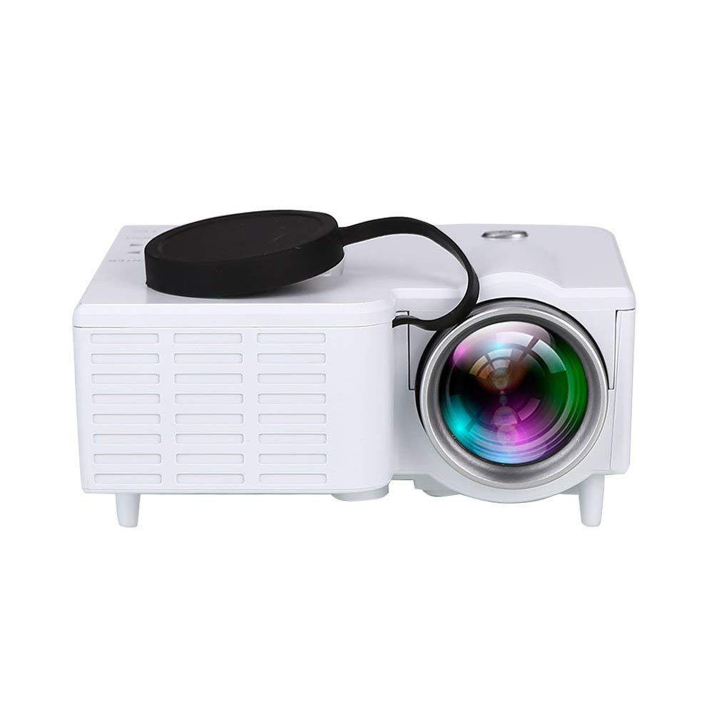 Auntwhale Portable 1080P HD LED LCD Multimedia Video Projector Home Theater Projector AV USB HDMI- Projection Size: 10-60 Inches - Product Size: 9.4× 8.2× 4.2CM - White