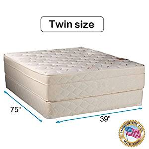 """Dream Solutions USA Beverly Hills Firm Foam Encased Eurotop (Pillow Top) Mattress and Box spring set (Twin 39""""x75""""x13"""") Sleep System with Enhance Support- Fully Assembled, Knit Cover, Orthopedic"""