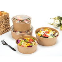 Biodegradable PLA lined disposable salad bowl with lid 1000ml salad bowl kraft
