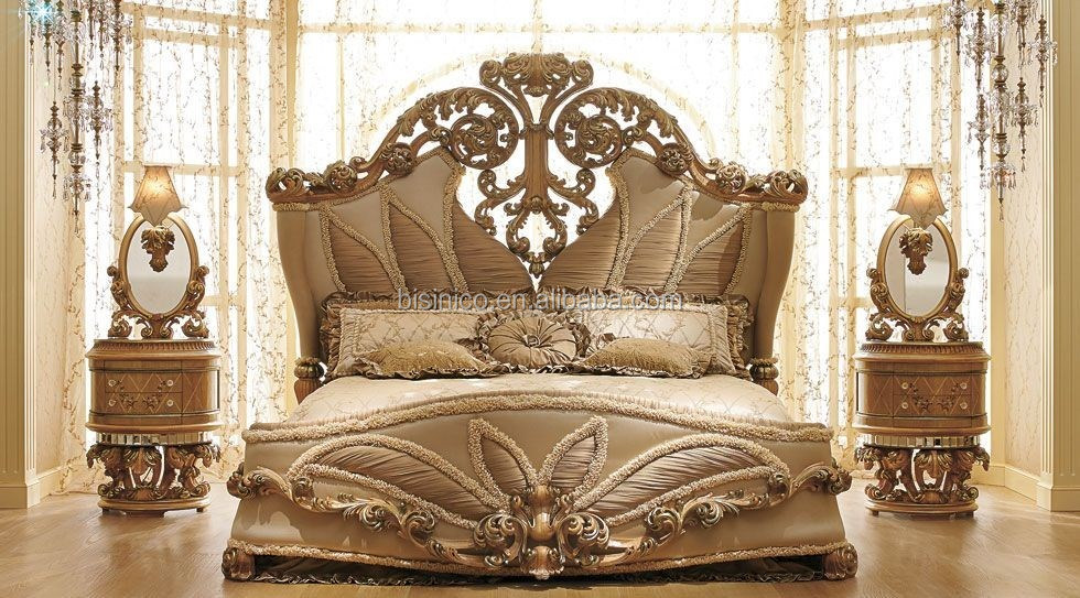 European Royal Style Wooden Hand Carved Bedroom Sets
