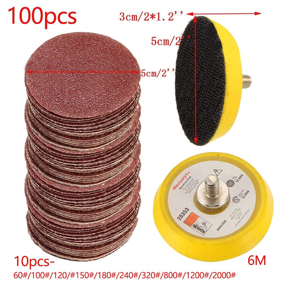 Topsame 100pcs/set Durable Sander Disc 50mm 60-2000 Grit Paper + 1pc Hook Loop Plate Fit Dremel 4000 Electric Grinder Abrasive Tools
