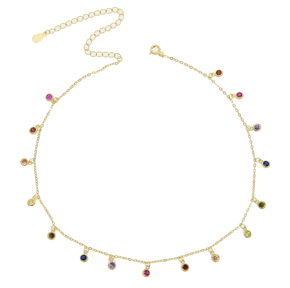 The new lady rainbow CZ necklace is simple and <strong>fashionable</strong>.