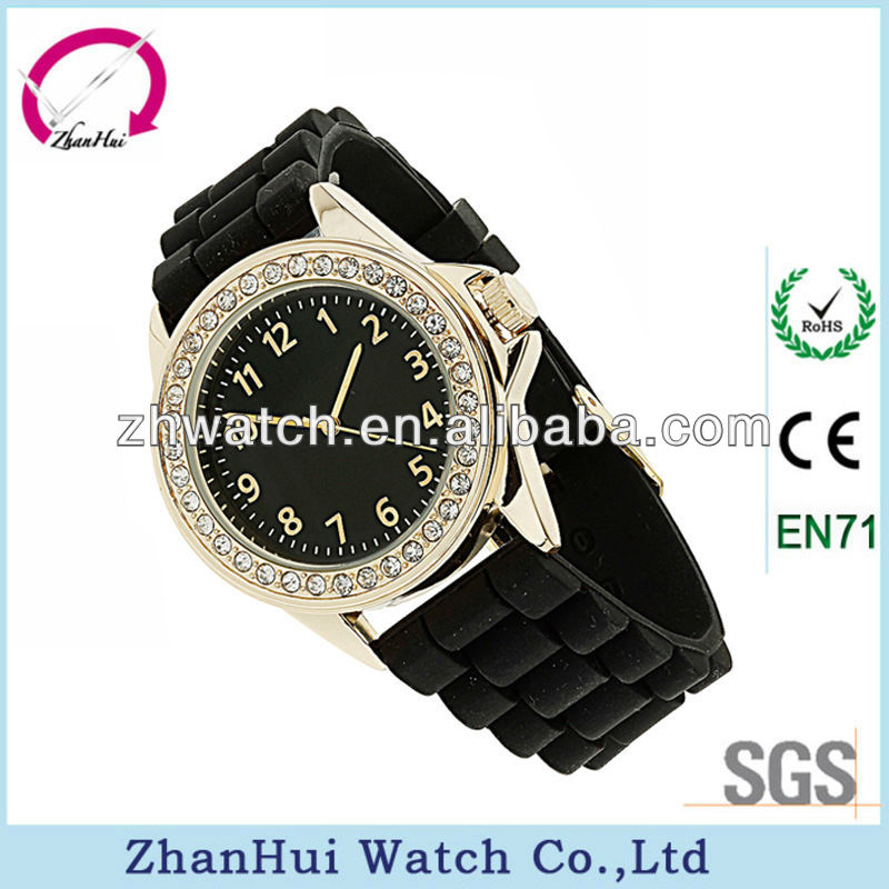 2013 black strap plastic watches for men bezel with diamonds black dial gold platerd case men watch fashion