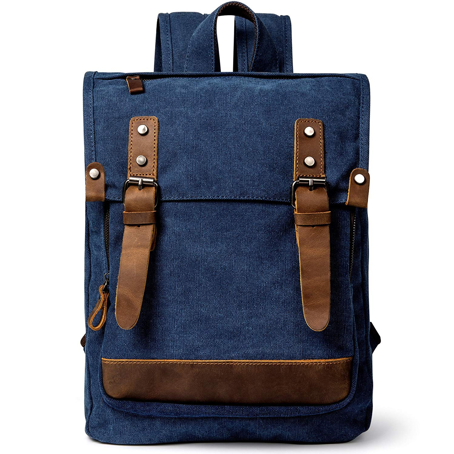 Canvas Backpack, F-color Casual Canvas Bag Laptop Backpack with Genuine Leather Trim, Unisex Vintage Colleage Bag Fits 14 inch Laptop, Hiking Travel Rucksack Knapsack for Men and Women, Blue