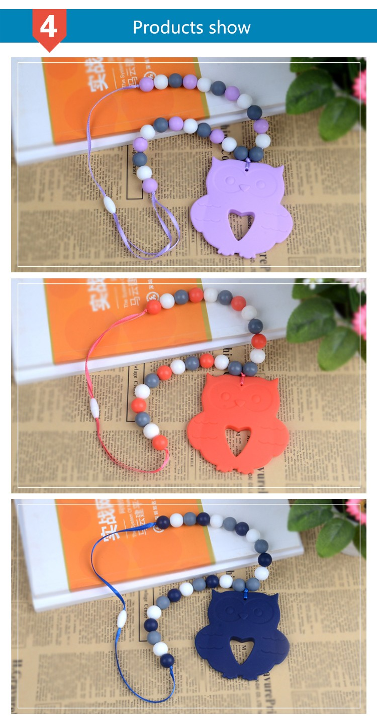 Soft Baby Teether Toys Silicone Teething Necklace