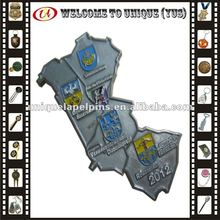 2012, 3D map shaped metal badge with plating nickel