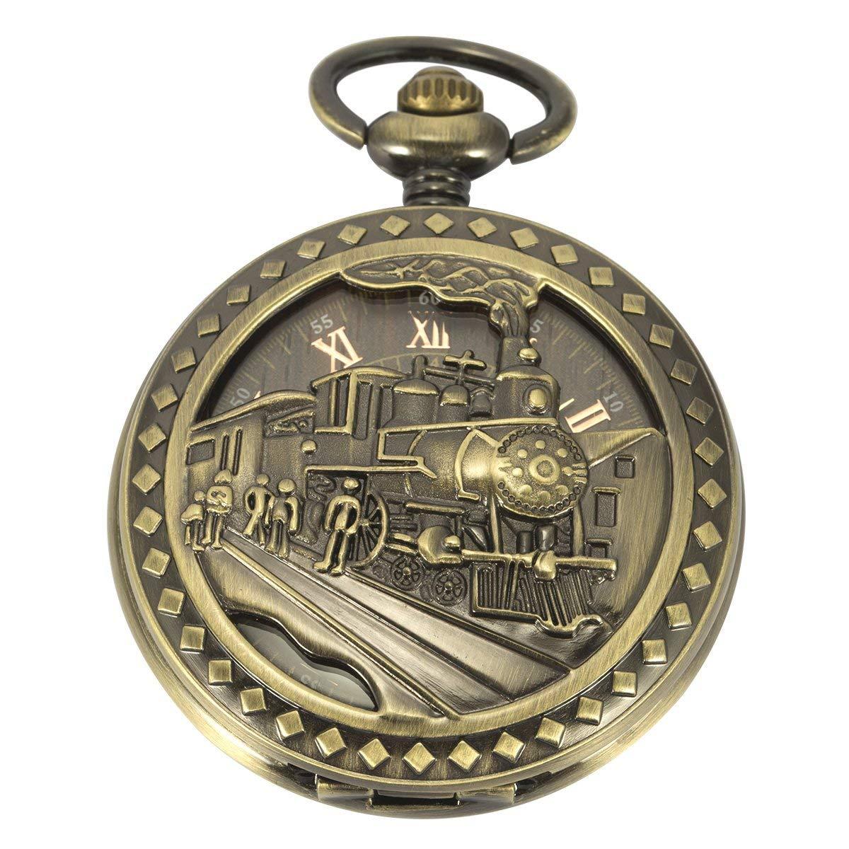 SIBOSUN Antique Pocket Watch Automatic Mechanical 3D Locomotive Steam Train Railroad Men Skeleton Chain