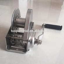 China supplier 1200LBS stainless steel braked portable hand winch with strap