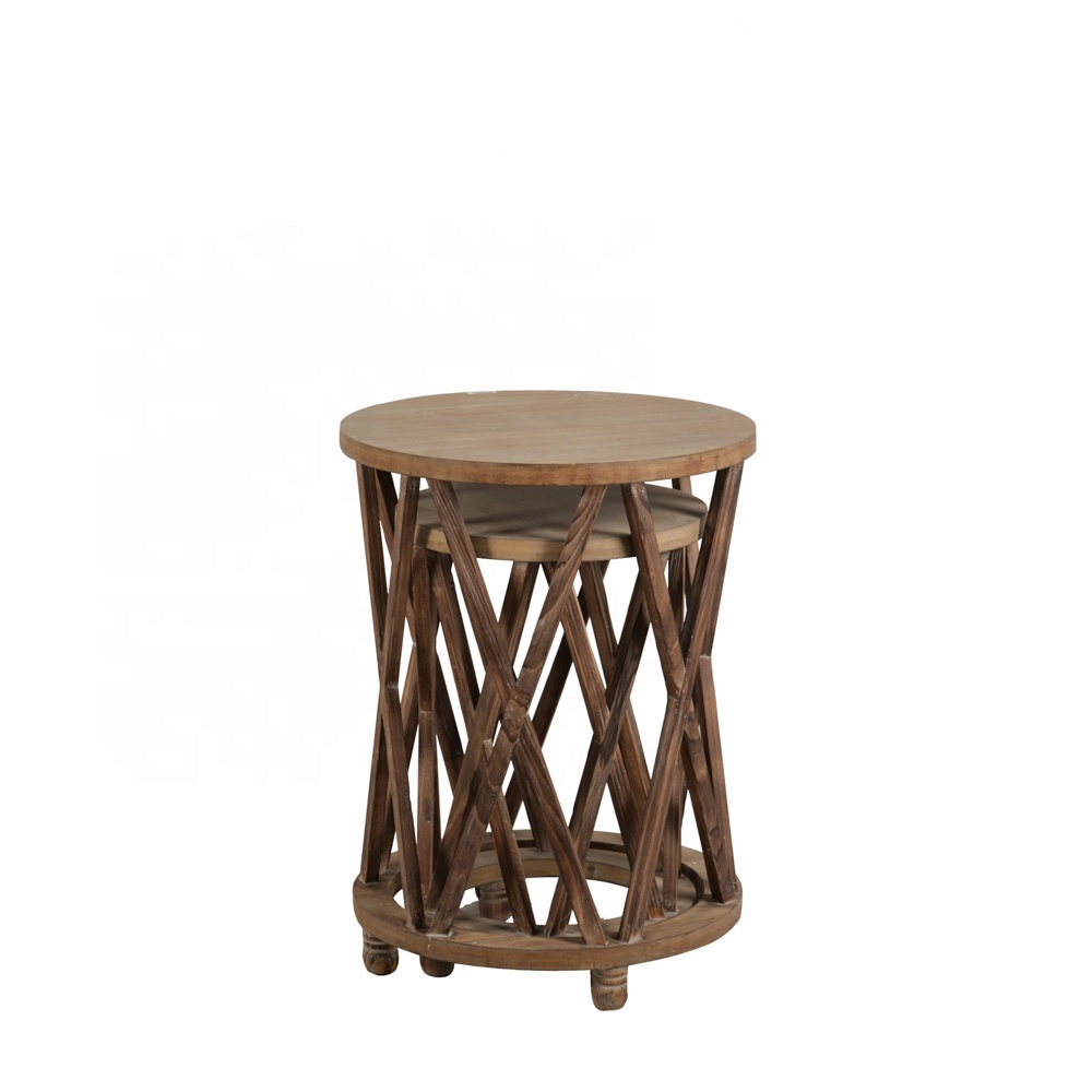 - Mayco Accent Table 2 Piece Modern Round Wood Nesting Coffee End