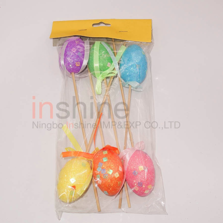 IN53220 Muti -color Foam Decorative Easter egg , Glitter Easter Egg Sticks