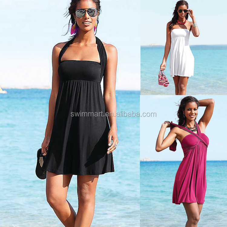 Multy way Removable padding 2016 Summer Fat Beachwear dresses women
