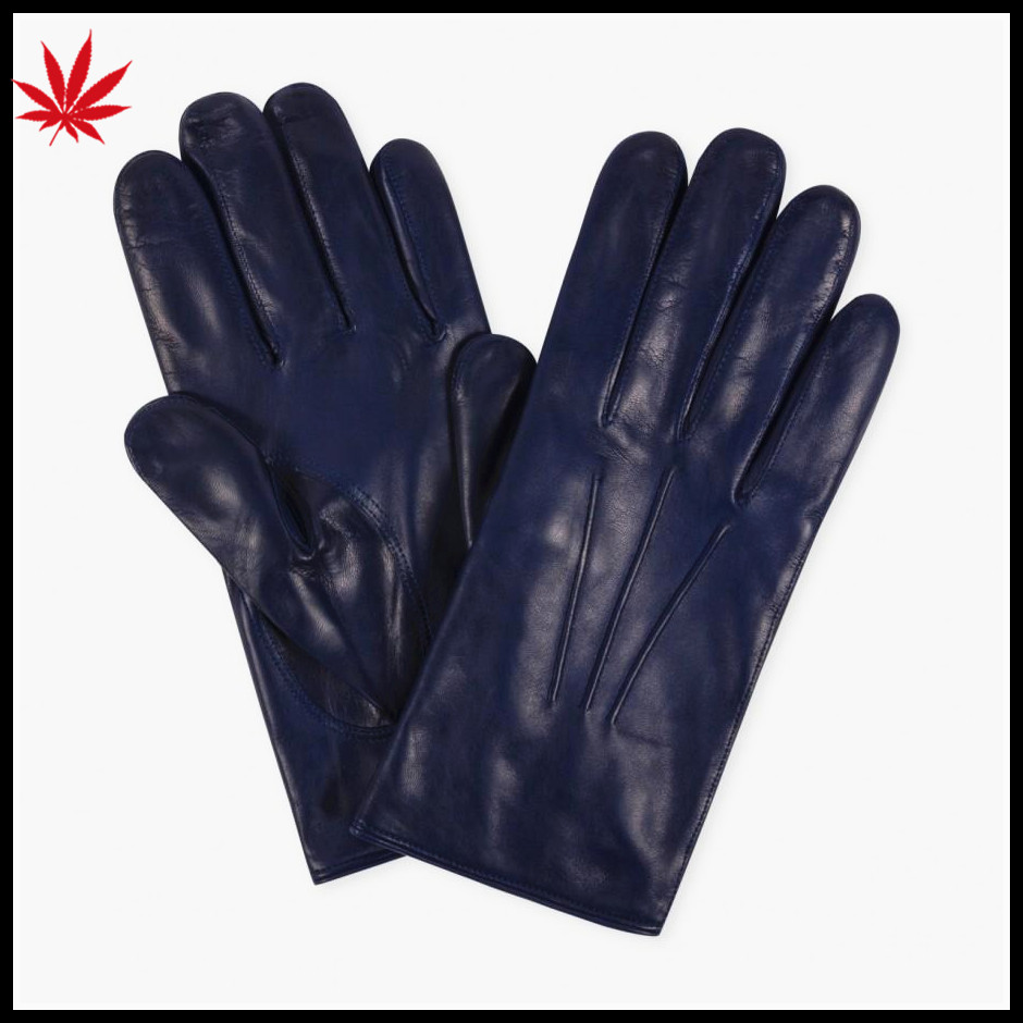 men's violet sheepskin winter leather gloves