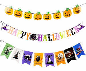 "Halloween Party Decoration Banner Flag, Alled 3 Pack Paper Include ""Happy Halloween""+8 Fishtail Flag + 8 Pumpkin"
