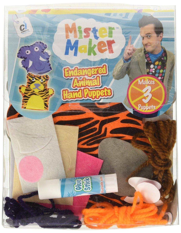 Mister Maker Endangered Animal Hand Puppets Kit Children Craft Play