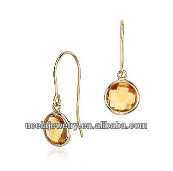 Vintage Madeira Citrine Solitaire French Clip Earrings In 14k Yellow Gold Jewelry
