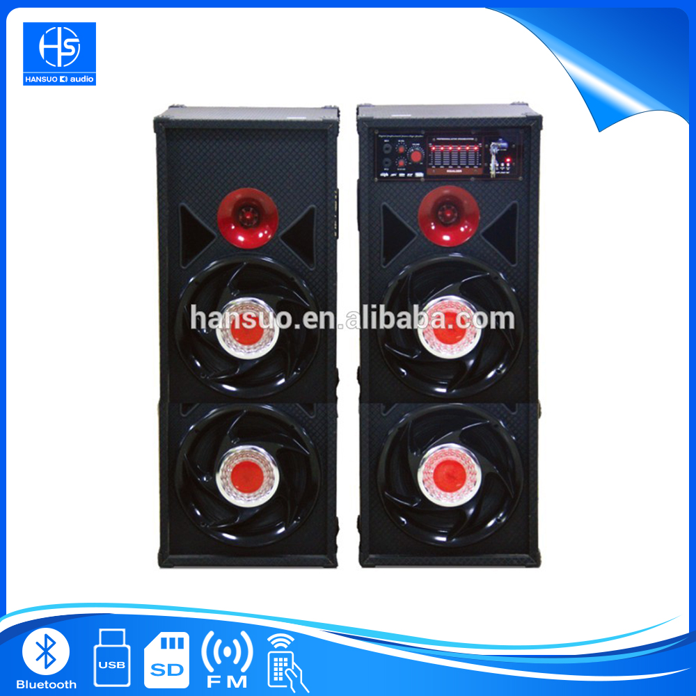 Promotion 2.0 Big Bass Party Wooden Speaker 10inch woofers with Mobile Computer MP3 MP4 Input DX017