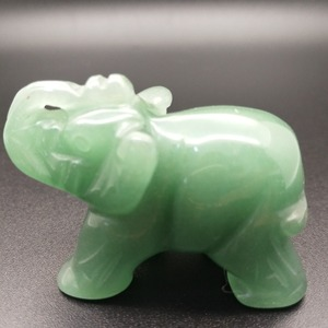 Natural Hand Carved Green Aventurine Elephant