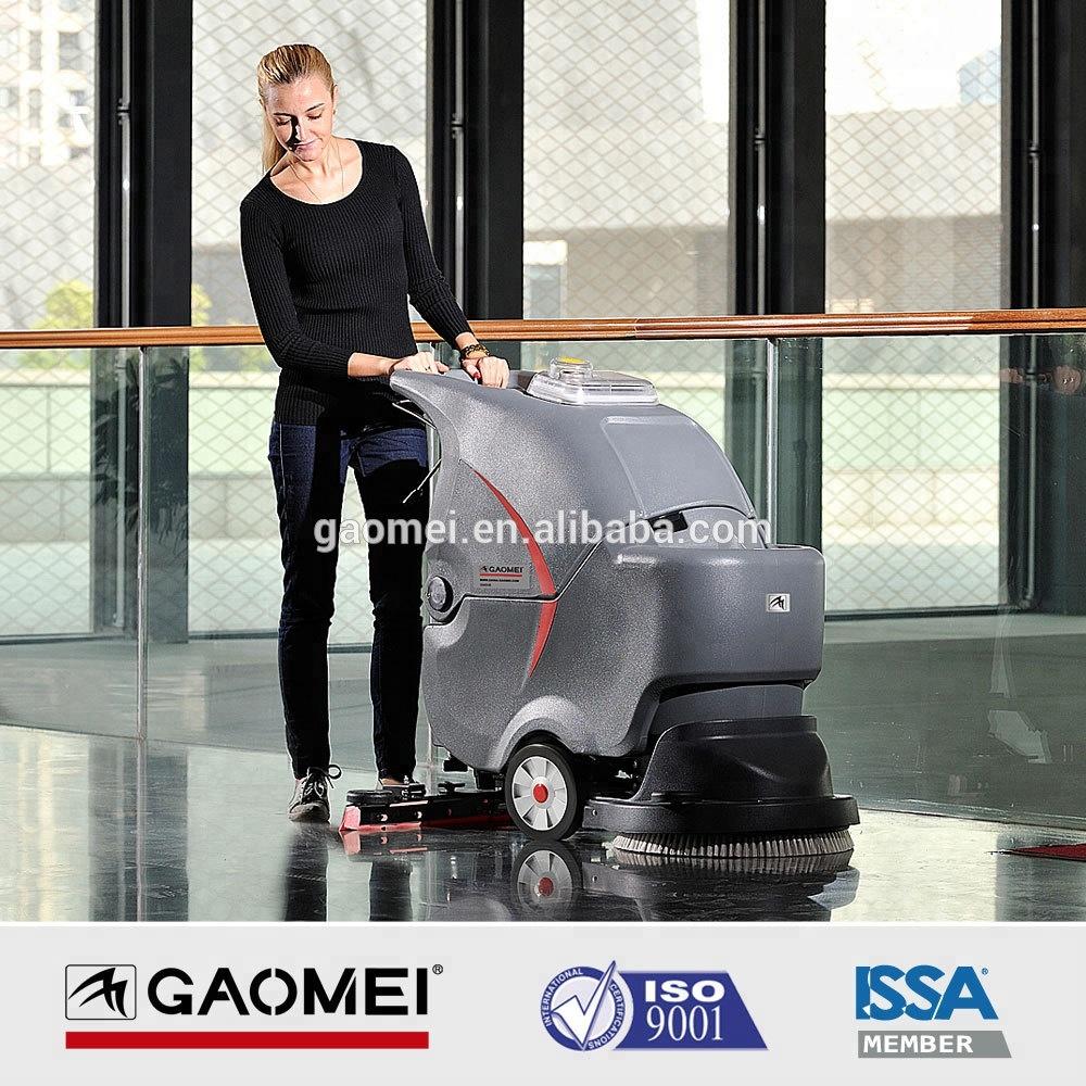 Enkele borstel commerciële hand duwen lopen achter vloer scrubber met 50L Water Tank