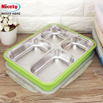 Nicety stainless steel 304 compartment food container leak proof food container with 4 compartment
