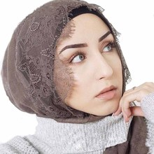 Hot Selling Solid Color Woman Lace Cotton Hijab Muslim Fashion Scarf