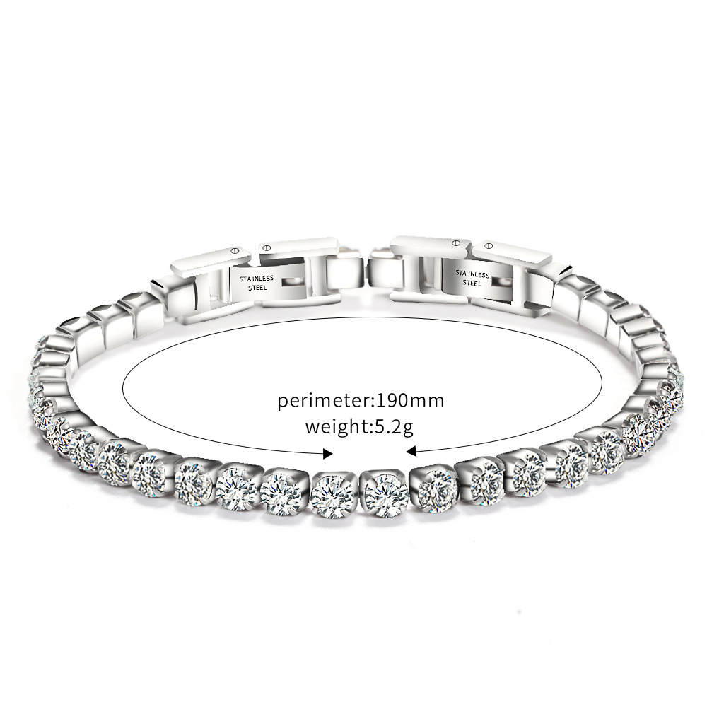 Fashion stainless steel cubic zirconia tennis bracelet for women