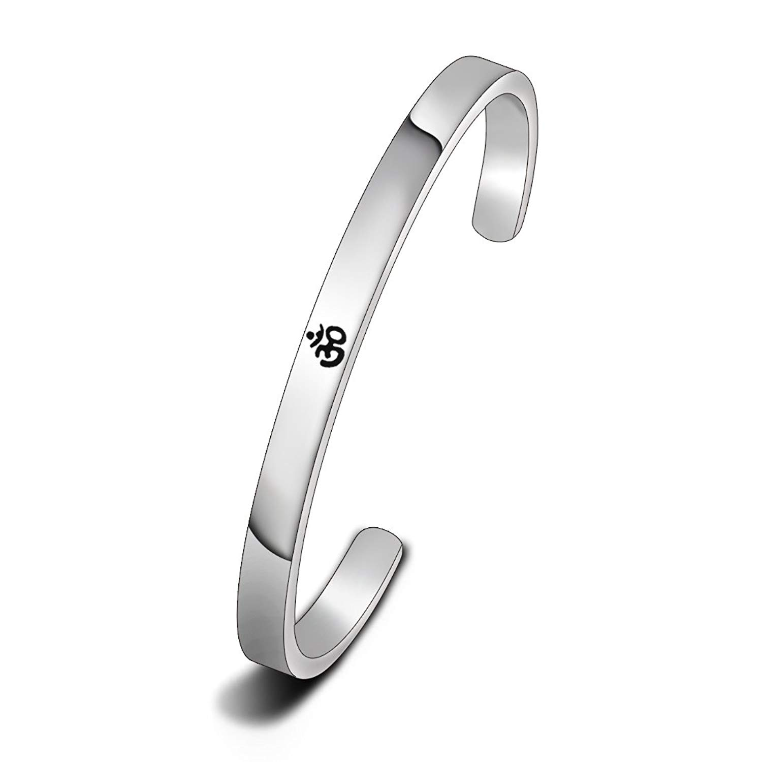 1d6f3631eb87ac Get Quotations · WUSUANED Yoga Jewelry Stainless Steel Aum Ohm Om Cuff  Bracelet Meditation Gift
