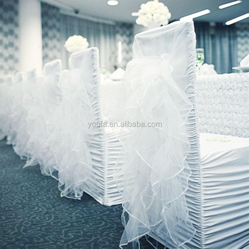Universal White Banquet Wedding Chair Cover Ruffle Folding