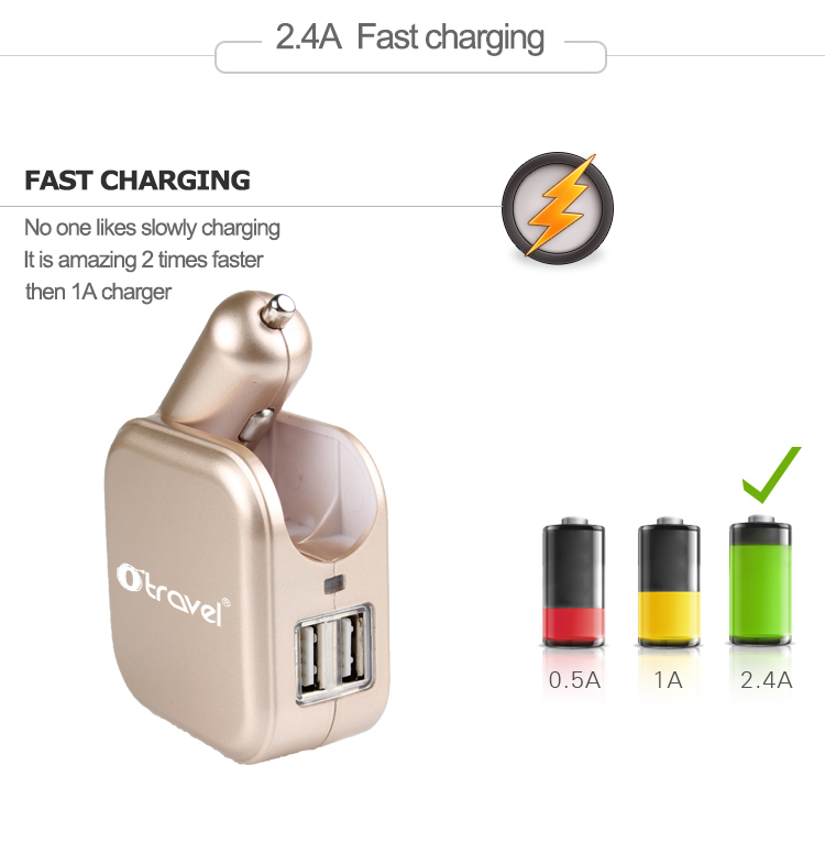 Otravel promotion 2 USB ports universal travel adapter car usb charger for mobile phone and tablet