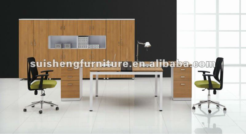 2012 Modern new design plywood and steel frame office desk fruniture for two seat with fixed 3-drawers cabinet