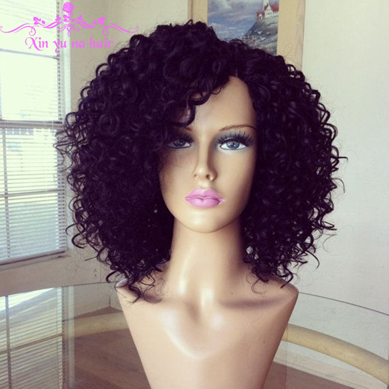 8A Short Afro Kinky Curly Wig Virgin Brazilian Lace Fron ...