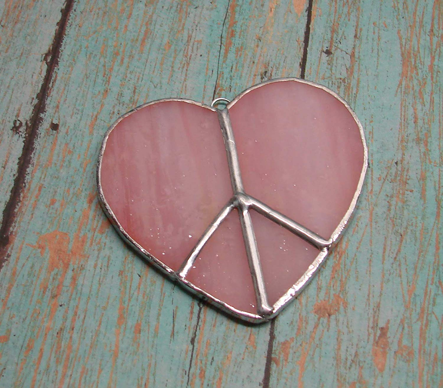 Pink Heart Shaped Peace Sign Handmade Stained Glass Sun Catcher Ornament