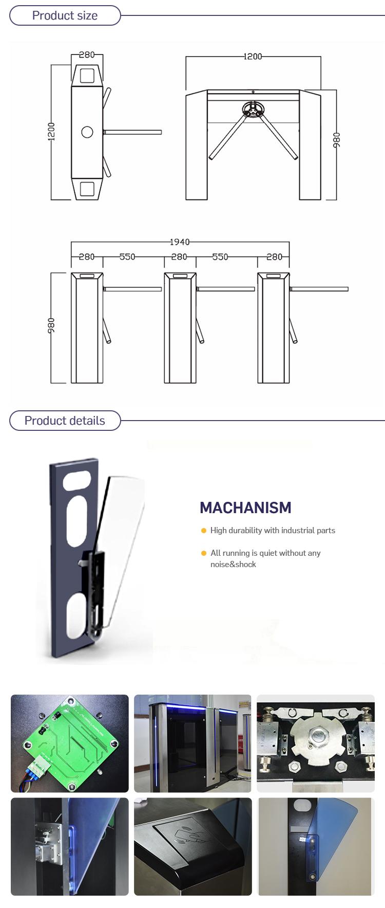 security semi automatic tripod turnstile hs code three metal rods