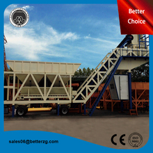 Mobile concrete mixing plant with batching plant machinery