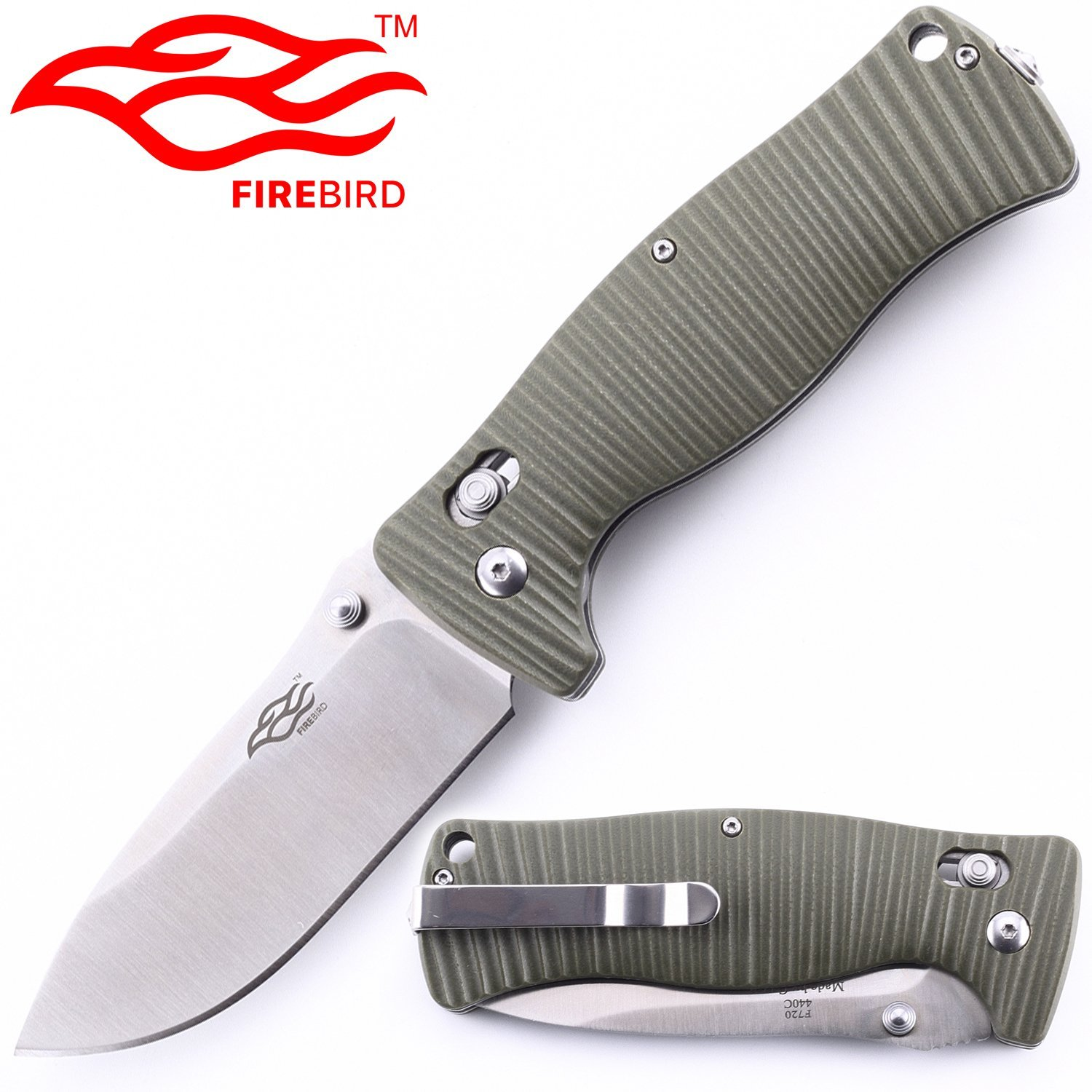 Folding Knife F720 Classic Small Stainless Steel 440C Blade 3.4in Pocket Knife with G10 Handle Axis Lock Clip Point & Straight Edge Lockback Knife for Hunting Camping OutdoorSurvival
